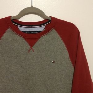 Tommy Hillfiger Red And Grey Men's Long Sleeve Shi